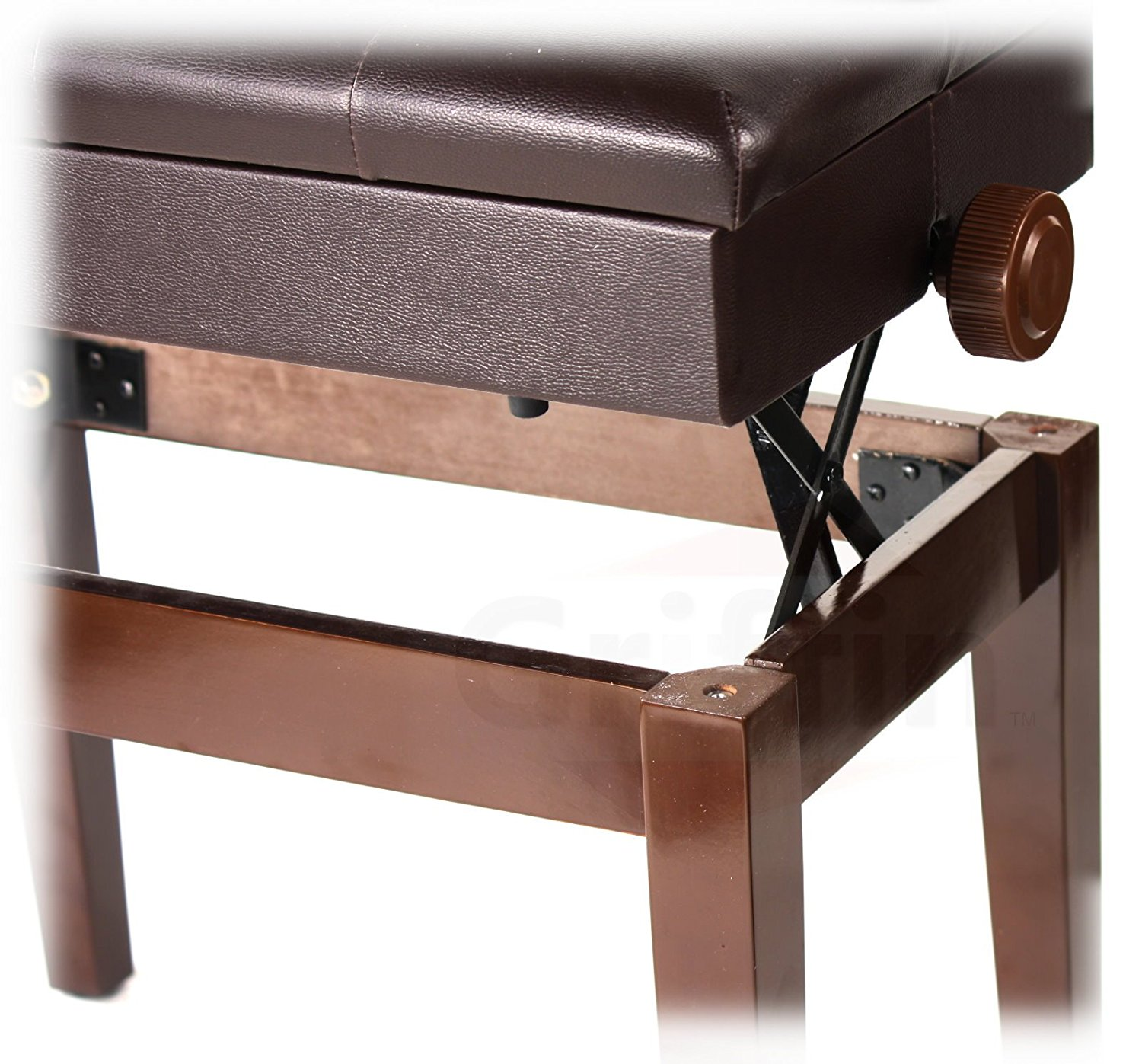 Adjustable Piano Brown Leather Bench By Griffin Vintage Stylish Design Heavy Duty Ergonomic