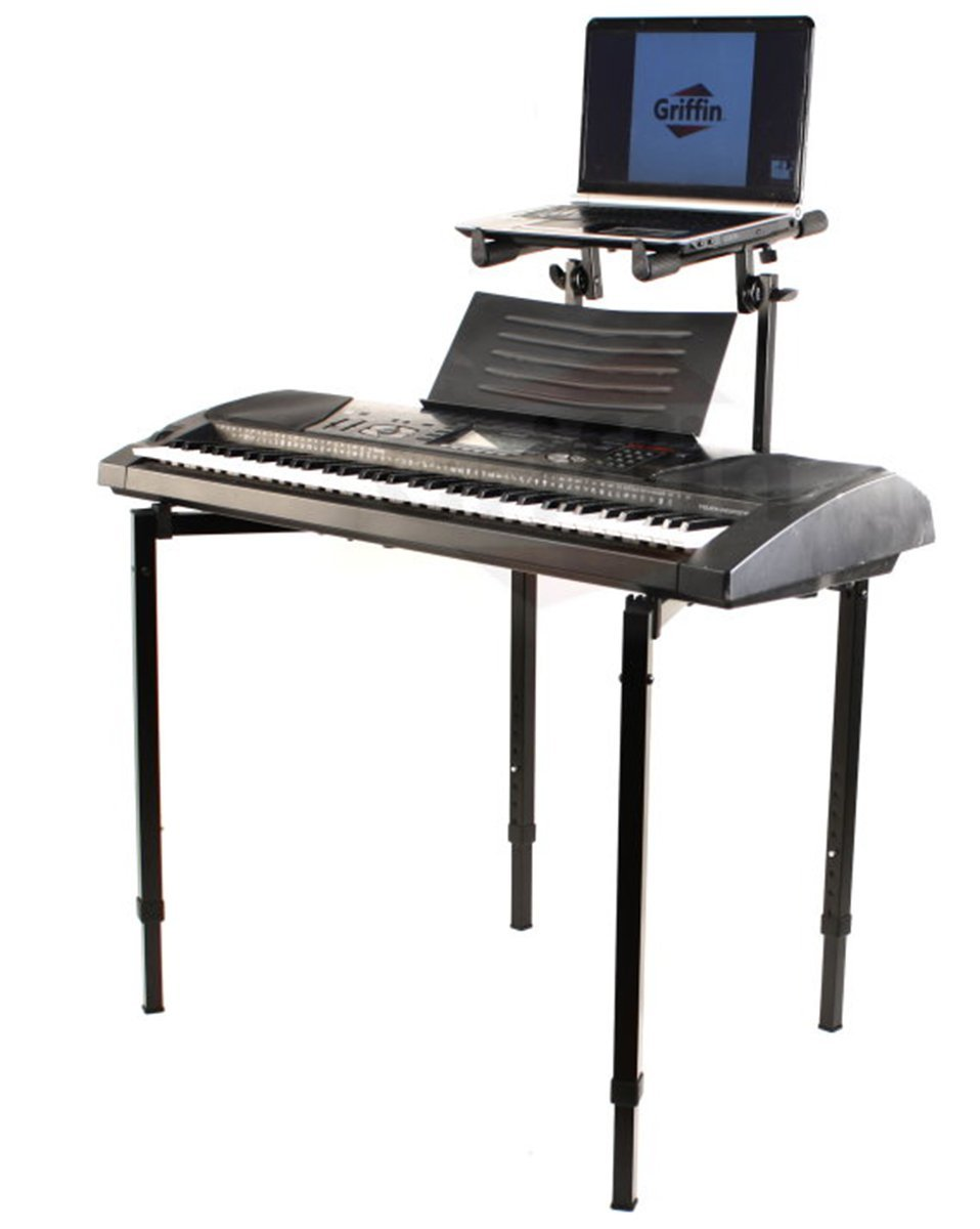 Double piano keyboard and laptop stand by griffin 2 tier for Stand 2 b