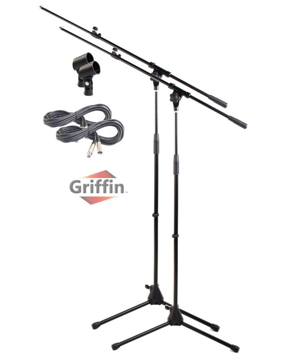 tripod microphone boom stand with xlr mic cable  u0026 clip