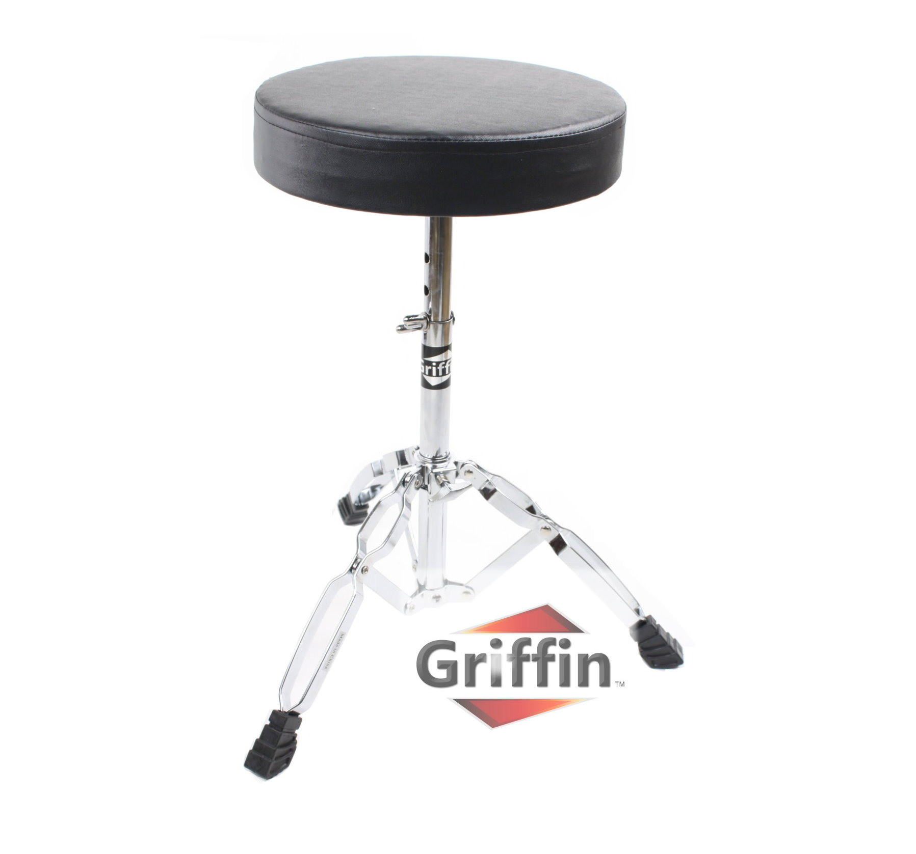Heavy Duty Drum Throne Seat Stool Chair Black Padded Round Percussion Stand