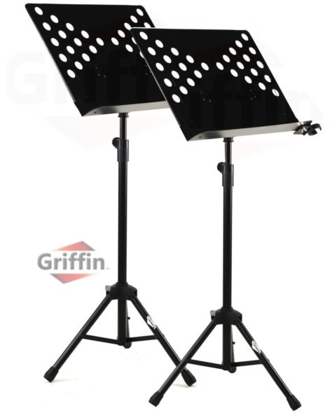 2-Pack-Music-Stand-Deluxe-CONDUCTOR-Sheet-Metal-Tripod-Folding-Stage-Holder-B008XMBWSQ
