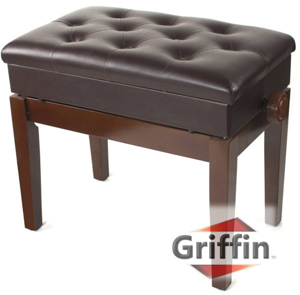 Adjustable-Piano-Brown-Leather-Bench-by-Griffin-Vintage-Stylish-Design-Heavy-Duty-Ergonomic-Keyboard-Stool-Comfort-B0035CI7GE