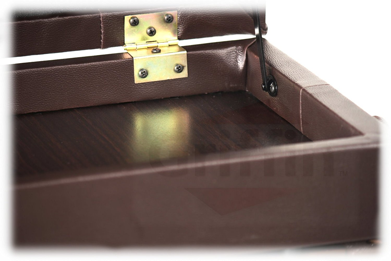Adjustable Piano Brown Leather Bench By Griffin Vintage