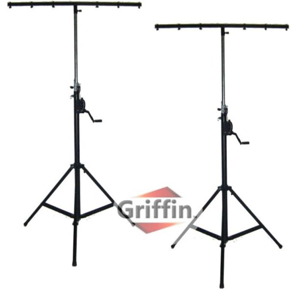 Crank-Up-Dj-Light-Stands-2-Pack-Stage-Lighting-Truss-System-by-Griffin-Portable-Speaker-Tripod-Heavy-Duty-Standing-B0057RUMPO