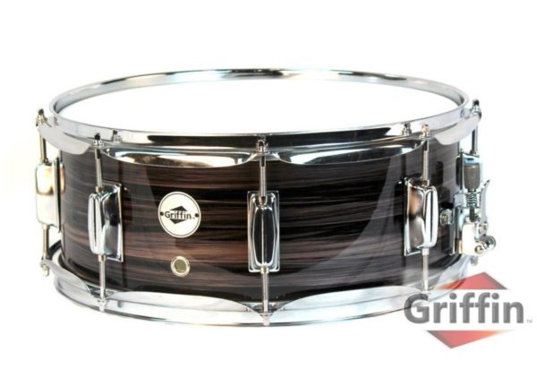 Deluxe-Snare-Drum-by-Griffin-14-x-55-Poplar-Wood-Shell-with-Zebra-PVC-Glossy-Finish-Percussion-Musical-Instrument-B005TY7DXY