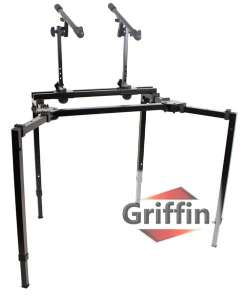 Double-Piano-Keyboard-and-Laptop-Stand-by-Griffin-2-TierDual-Portable-Studio-Mixer-Rack-for-Turntables-DJ-Coffins-S-B004THB8OW