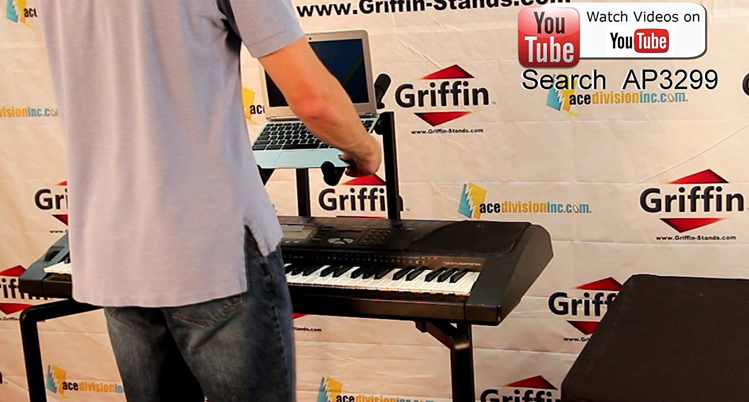 Double Piano Keyboard And Laptop Stand By Griffin 2 Tier