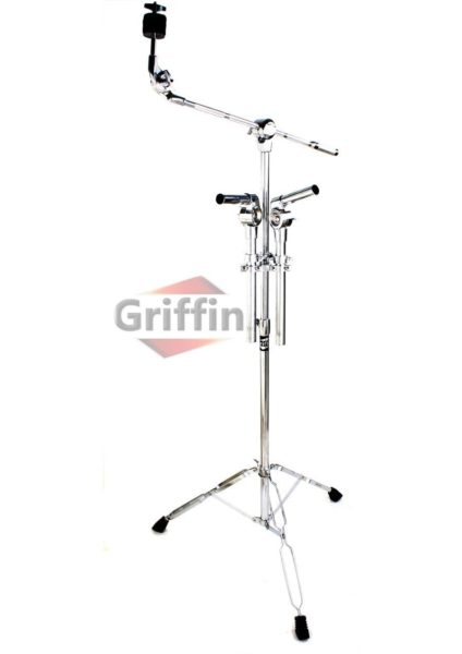 Double-Tom-Drum-Stand-with-Cymbal-Boom-Arm-by-Griffin-Premium-Percussion-Set-Hardware-with-Dual-Drum-MountsMedium-Dut-B0058FJZ6W
