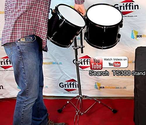 Double-Tom-Drum-Stand-with-Cymbal-Boom-Arm-by-Griffin-Premium-Percussion-Set-Hardware-with-Dual-Drum-MountsMedium-Dut-B0058FJZ6W-7