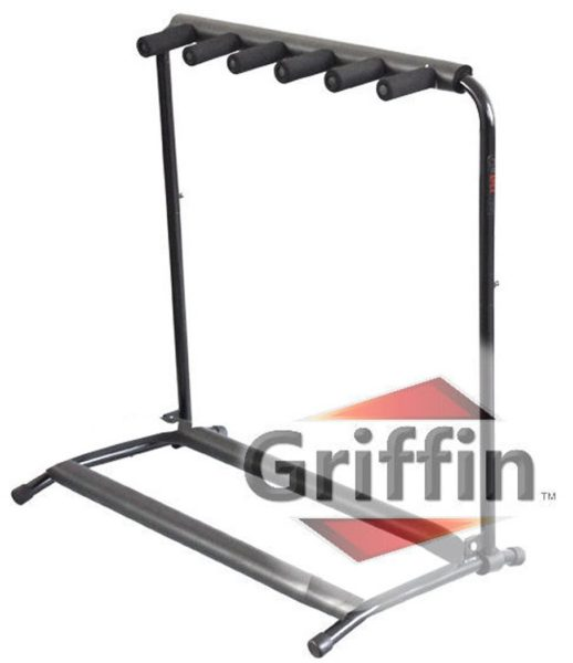 Five-Guitar-Rack-Stand-by-Griffin-Holder-for-5-Guitars-Folds-Up-For-Easy-Transport-Neoprene-Tubing-For-Protection-B0064EGI34
