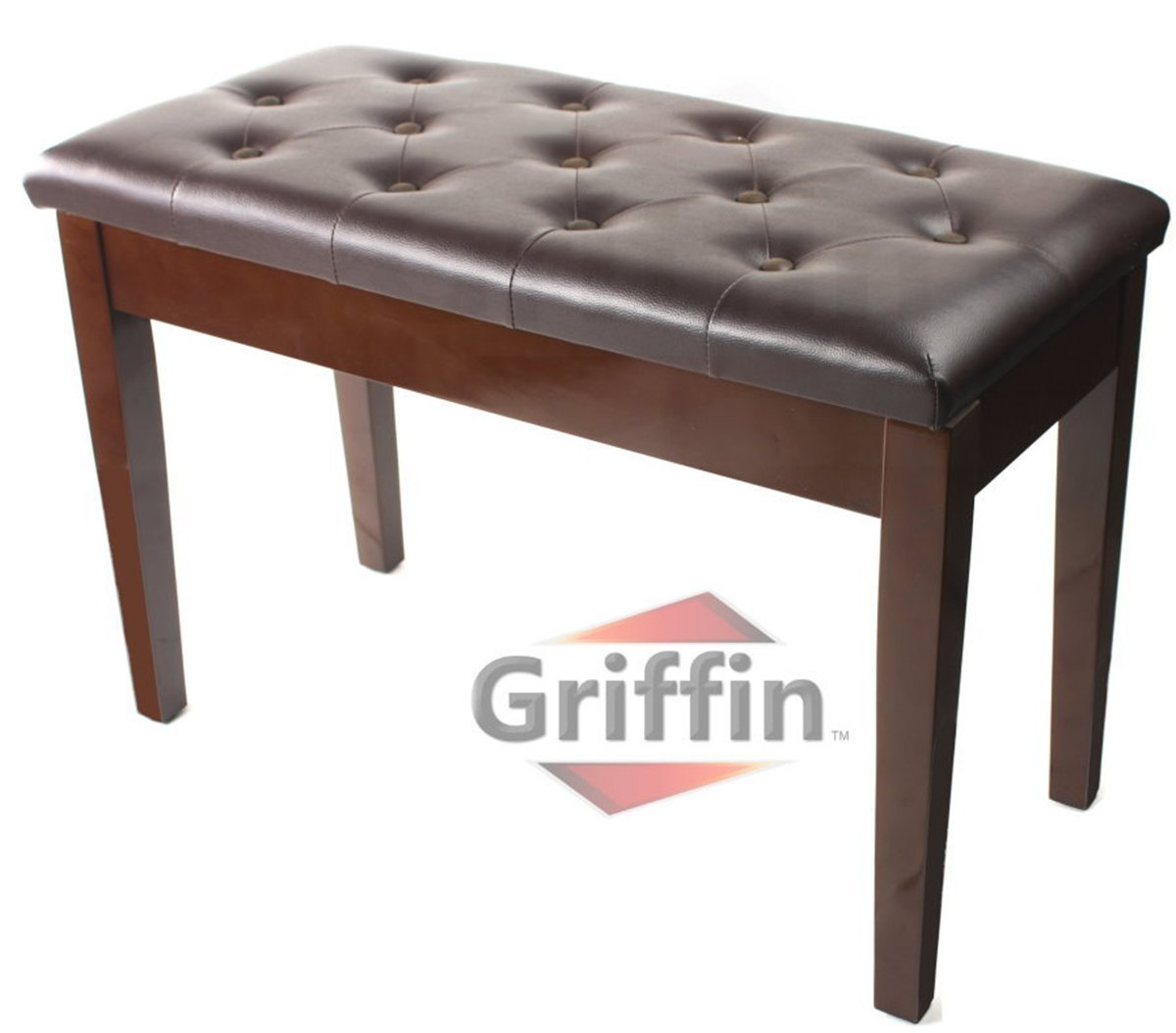 Griffin Double Brown Leather Piano Bench – Vintage Design, Heavy ...