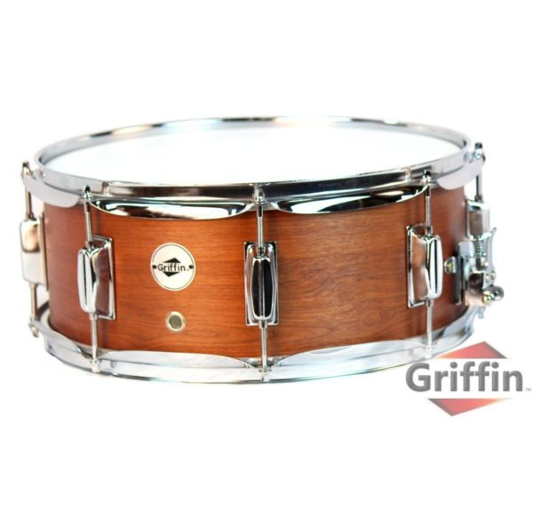 Griffin-Snare-Drum-Poplar-Wood-Shell-14-x-55-with-Flat-Hickory-PVC-Finish-8-Tuning-Lugs-Snare-Strainer-Percus-B00A7K7KSS