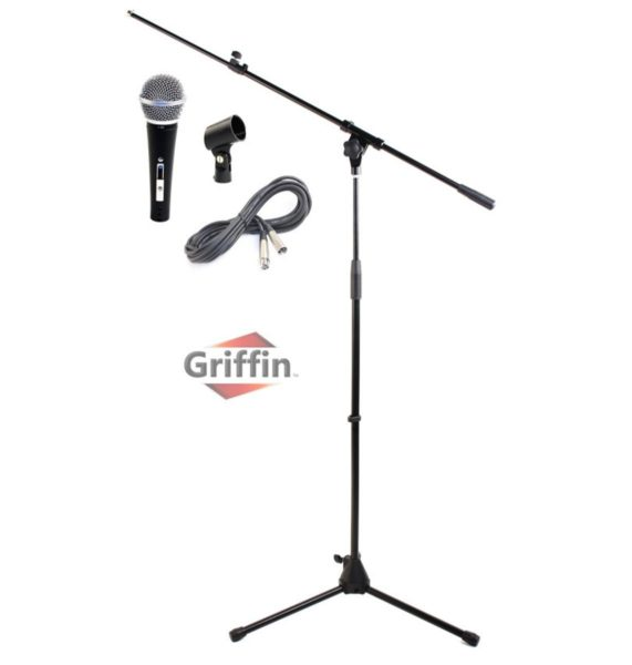 Microphone-Boom-Stand-Package-by-GriffinTelescoping-Arm-Mount-Tripod-HolderCardioid-Dynamic-Handheld-Vocal-Microphon-B0057RVHBM