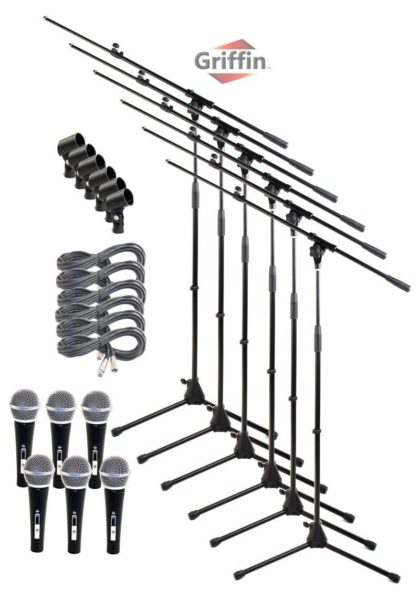 Microphone-Boom-Stand-Package-with-Cardioid-Vocal-Microphones-XLR-Mic-Cables-Pack-of-6-by-Griffin-Telescoping-Arm-B0057RVEQA