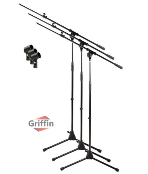 Microphone-Boom-Stand-with-Mic-Clip-Pack-of-3-by-Griffin-Telescoping-Tripod-Premium-Quality-for-Studio-Karaoke-Liv-B00H9POOCO