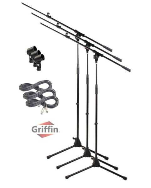Microphone-Boom-Stand-with-Mic-XLR-Cable-Clip-Pack-of-3-by-Griffin-Telescoping-Tripod-Premium-Quality-for-Studio-B00585PT2Q