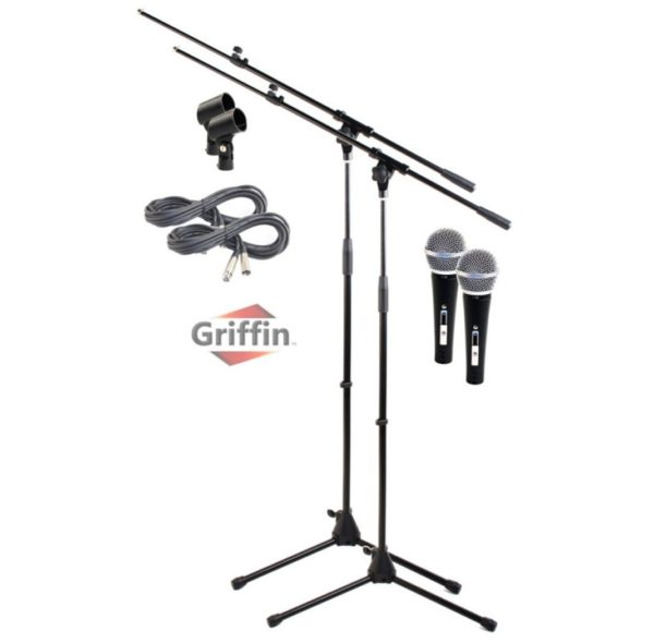 Microphone-Boom-Stand-with-XLR-Mic-Cable-Cardioid-Dynamic-Microphone-Clip-Pack-of-2-by-GriffinTelescoping-Arm-Hold-B0057RUZFG