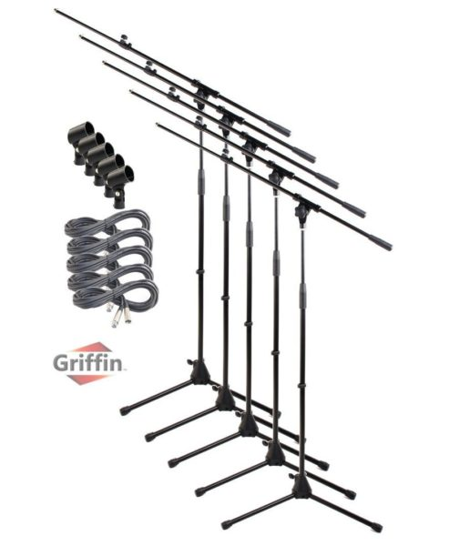 Microphone-Stand-with-Boom-Arm-XLR-Cable-and-Mic-Clip-Pack-of-5-by-Griffin-Tripod-Telescoping-Premium-Quality-for-S-B0057RV9YW