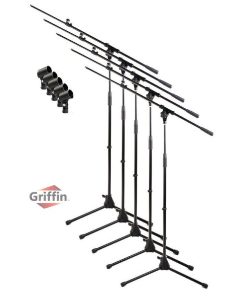 Microphone-Stand-with-Boom-Arm-and-Mic-Clip-Pack-of-5-by-Griffin-Tripod-Telescoping-Premium-Quality-for-Studio-Kara-B00H9POSR0