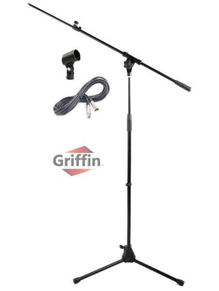Microphone-Stand-with-Telescoping-Boom-XLR-Cable-and-Mic-Clip-Package-by-Griffin-Tripod-Premium-Quality-for-Studio-K-B0057RVGPO