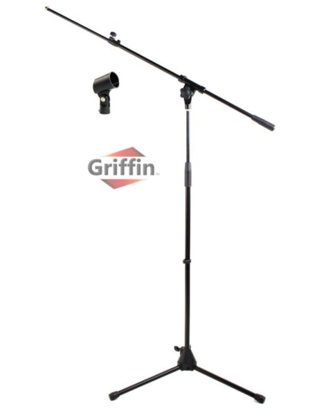 Microphone-Stand-with-Telescoping-Boom-and-Mic-Clip-Package-by-Griffin-Tripod-Premium-Quality-for-Studio-Karaoke-Liv-B0035CVTZK