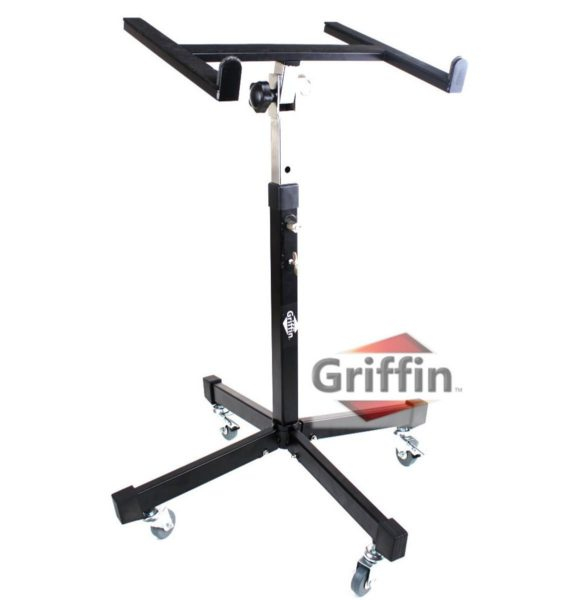 Mobile-Studio-Mixer-Stand-DJ-Cart-by-Griffin-Rolling-Standing-Rack-On-Casters-with-Adjustable-HeightPortable-Turntabl-B004THB824