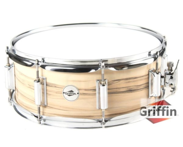 Oak-Wood-Snare-Drum-by-Griffin-PVC-Glossy-Finish-on-Poplar-Wood-Shell-14-x-55-Percussion-Musical-Instrument-with-B00A7K7LYG