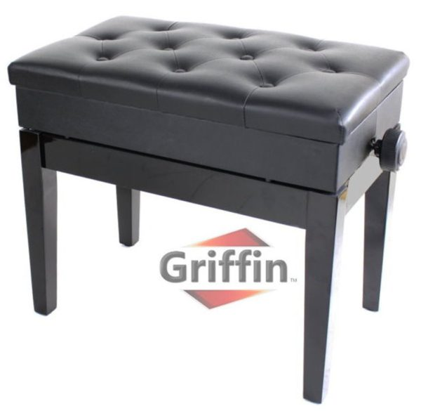 Premium-Adjustable-Antique-Piano-Bench-By-Griffin-Black-Solid-Wood-Frame-Luxurious-Comfortable-Leather-Padded-Seat-B004UMZLOO