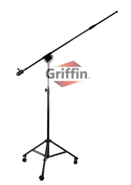 Professional-Studio-Rolling-Microphone-Boom-Stand-with-Casters-by-Griffin-Heavy-Duty-Recording-Mic-Holder-Tripod-on-Wh-B00GBE7MG4