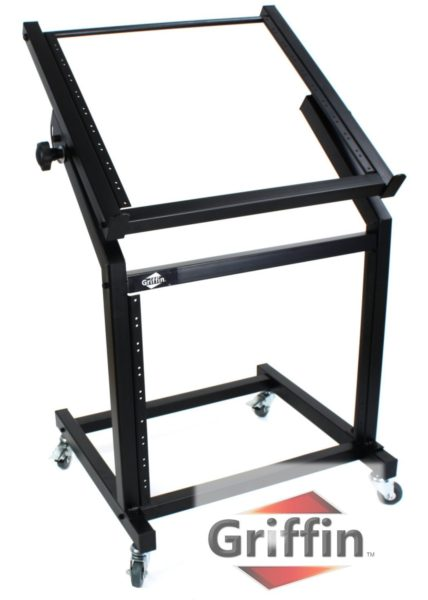 Rack-Mount-Rolling-Stand-and-Adjustable-Top-Mixer-Platform-Mount-19U-by-GriffinCart-Holder-for-Music-Studio-Pro-Audio-R-B004THBOPK