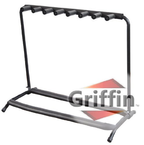 seven guitar rack stand by griffin holder for 7 guitars folds up for electric acoustic. Black Bedroom Furniture Sets. Home Design Ideas