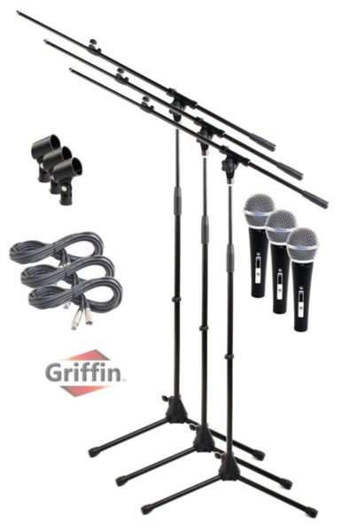 Telescoping-Microphone-Boom-Stand-3-Pack-by-GriffinProfessional-Cardioid-Dynamic-Vocal-Microphones-with-ClipSinging-B0057RV2CQ