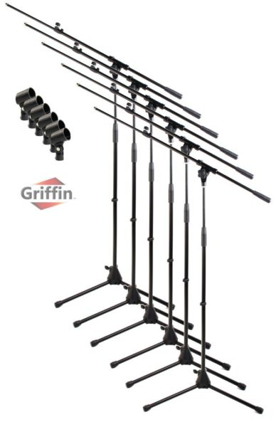 Telescoping-Microphone-Boom-Stand-with-Mic-Clip-Pack-of-6-by-Griffin-Tripod-Premium-Quality-for-Studio-Karaoke-Liv-B01LW1Q15A