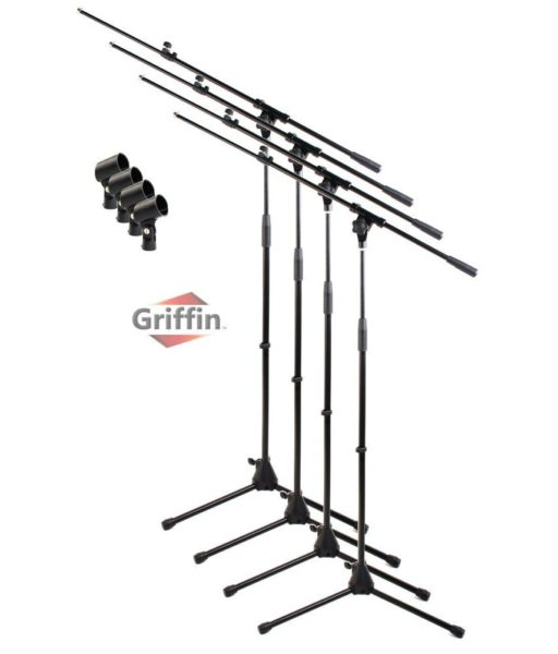 Telescoping-Tripod-Microphone-Boom-Stand-with-Mic-Clip-Pack-of-4-by-Griffin-Premium-Quality-for-Studio-Karaoke-Liv-B0057RV4K6