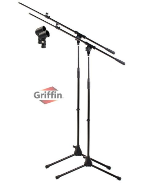 Tripod-Microphone-Boom-Stand-with-Mic-Clip-Pack-of-2-by-Griffin-Telescoping-Premium-Quality-for-Studio-Karaoke-Liv-B0057RVJVU
