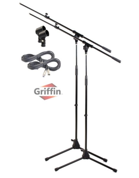 Tripod-Microphone-Boom-Stand-with-XLR-Mic-Cable-Clip-Pack-of-2-by-Griffin-Telescoping-Premium-Quality-for-Studio-B00585PT0I